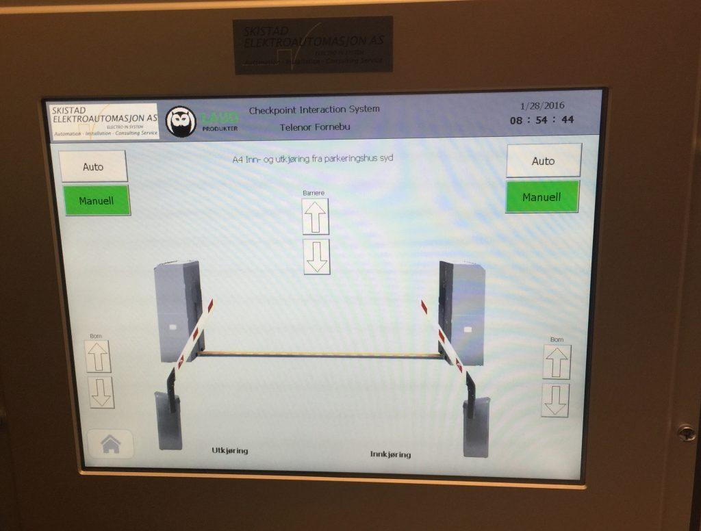 Telenor Fornebu PLS touchscreen barriere og Magnetic bommer