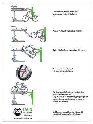 Sykkelstativ i 2 Høyder – 2ParkUp. Dobbelt stativ i 2 etasjer. Brukermanual 2ParkUp norsk
