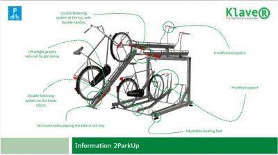 Sykkelstativ i 2 Høyder – 2ParkUp. Dobbelt stativ i 2 etasjer. Justerbare føtter