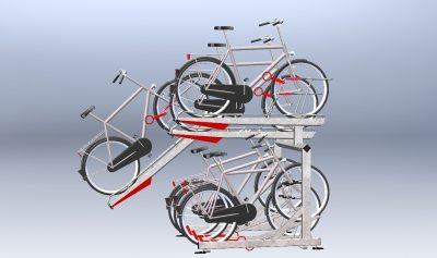 Sykkelstativ i 2 Høyder – 2ParkUp. Dobbelt stativ i 2 etasjer. Ekstra låssystem til ramme