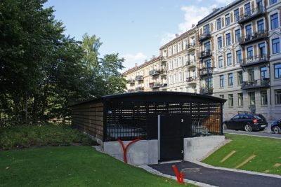 Sykkelparkeringshus Modulere 2 Etasjes. Grünerløkka Studenthus, med 2ParkUp
